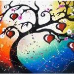 Red Hearts Tree of Life Art..