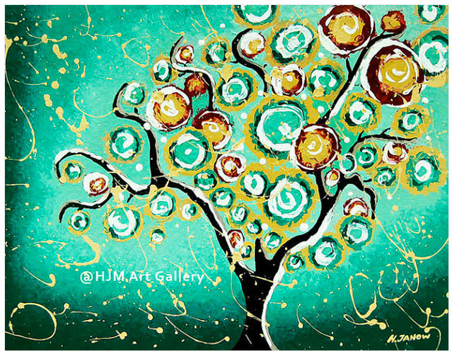 Whimsical Turquoise Tree of Life Art Print - 11x14 Signed